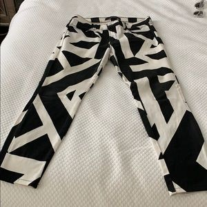 J Brand black and white graphic jeans